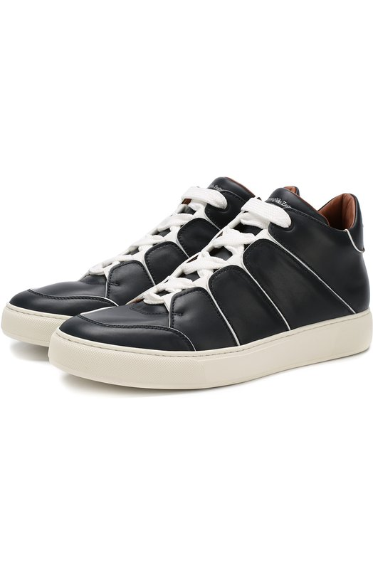 Купить Кожаные кеды на шнуровке Zegna Couture, A2891X-MSF, Италия, Темно-синий, Подошва-резина: 90%; Подкладка-кожа: 100%; Кожа: 100%; Подошва-кожа: 10%;
