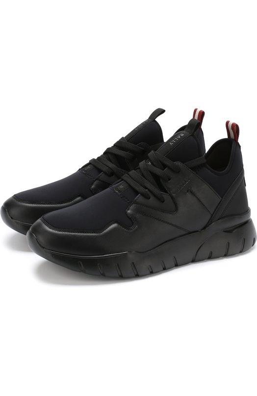 Купить Комбинированные кроссовки на шнуровке Bally, BIFFY/00/SYNTHETIC, Китай, Черный, Текстиль: 60%; Подкладка-кожа: 51%; Подкладка-текстиль: 49%; Кожа: 40%; Подошва-резина: 100%;