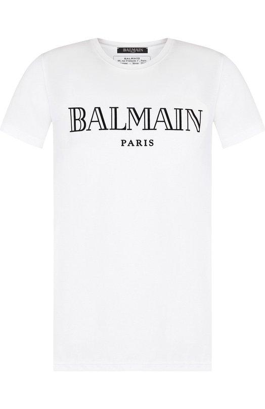 Купить Хлопковая футболка с принтом Balmain, W8H/8601/I259, Португалия, Белый, Хлопок: 100%;