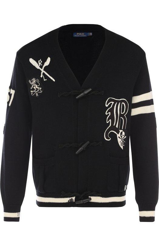 Купить Хлопковый кардиган на пуговицах с V-образным вырезом и нашивками Polo Ralph Lauren, 710702373, Китай, Черный, Хлопок: 100%;