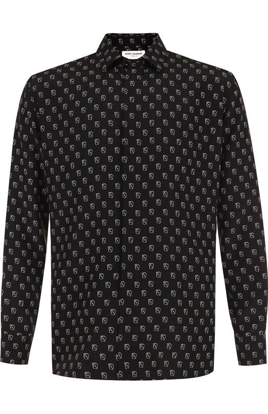 Купить Шелковая рубашка с принтом Saint Laurent, 528009/Y317T, Италия, Черный, Шелк: 100%;