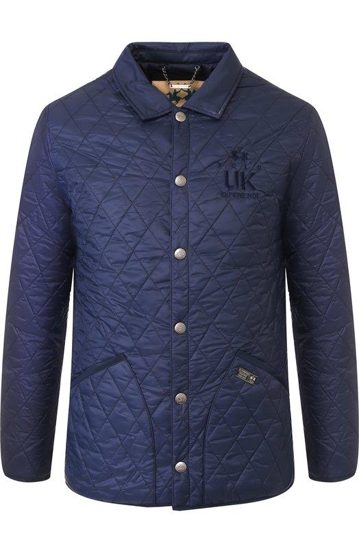 Стеганая куртка на кнопках с отложным воротником La Martina, MM0002/PA012, Китай, Темно-синий, Полиамид: 100%;  - купить