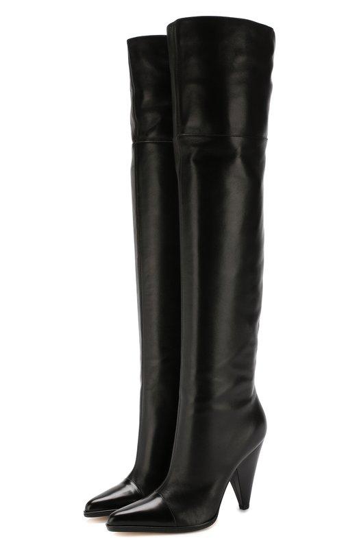 Купить Кожаные ботфорты Carla на фигурном каблуке Sergio Rossi, A82080-MFN428, Италия, Черный, Подошва-кожа: 100%; Подкладка-кожа: 100%; Кожа: 100%;