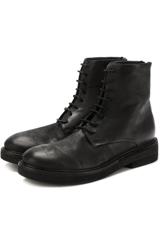 Купить Высокие кожаные ботинки на шнуровке Marsell, MW3961/NEVE, Италия, Черный, Подошва-резина: 100%; Подкладка-кожа: 100%; Кожа: 100%;
