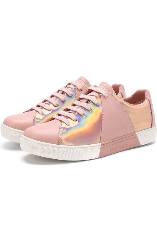 Купить Комбинированные кеды на шнуровке Emporio Armani, X3X067/XL525, Вьетнам, Розовый, Подкладка-полиэстер: 60%; Кожа: 51%; Полиэстер: 49%; Подкладка-кожа: 40%; Подошва-резина: 100%;