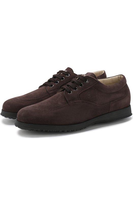Купить Замшевые ботинки Traditional на шнуровке Hogan, HXW00E00010CR0, Италия, Темно-коричневый, Подошва-резина: 100%; Подкладка-кожа: 100%; Кожа: 100%;