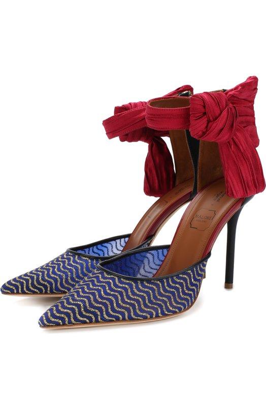 Купить Туфли Elle Malone Souliers X Emanuel Ungaro Malone Souliers, ELLE 1/GLITTER MESH/SATIN/NAPPA, Италия, Синий, Глиттер: 60%; Кожа: 20%; Текстиль: 20%; Подкладка-кожа: 100%; Подошва-кожа: 100%;
