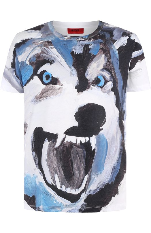 Купить Хлопковая футболка с принтом HUGO, 50395380, Португалия, Белый, Хлопок: 100%;