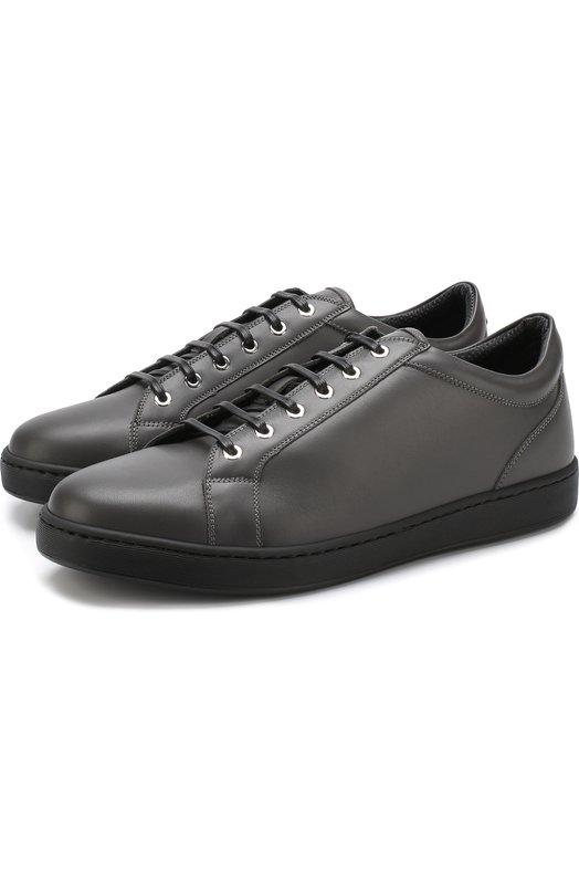 Купить Кожаные кеды на шнуровке Kiton, USSNER0N00409, Италия, Серый, Подошва-резина: 100%; Подкладка-кожа: 100%; Кожа: 100%;