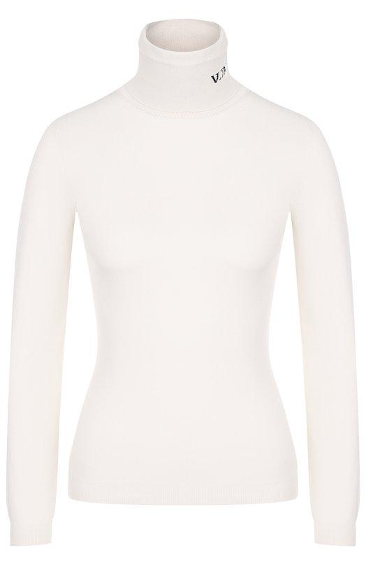 Купить Однотонная водолазка с логотипом бренда Valentino, QB3KC11347A, Италия, Белый, Вискоза: 75%; Полиамид: 25%;