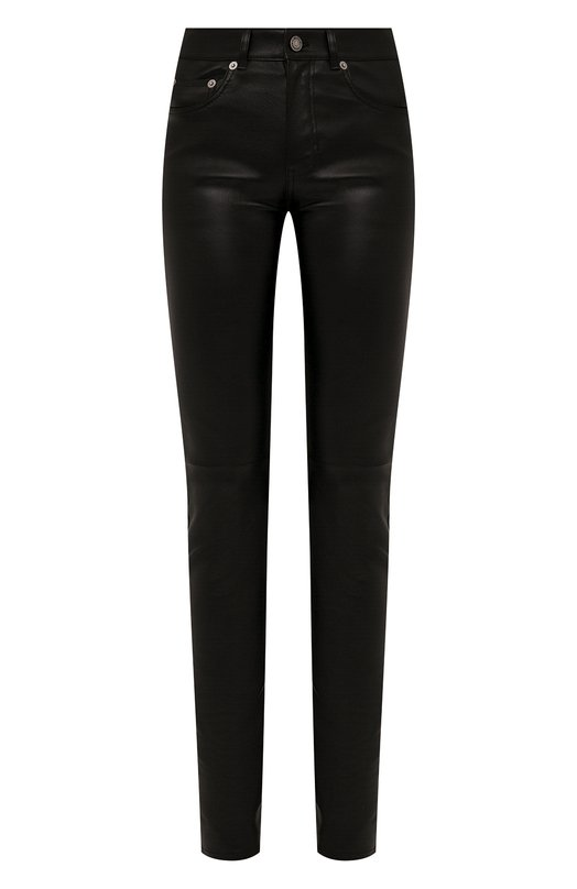 Купить Однотонные кожаные брюки Saint Laurent, 496409/Y5RG2, Италия, Черный, Подкладка-хлопок: 97%; Подкладка-эластан: 3%; Кожа: 100%;
