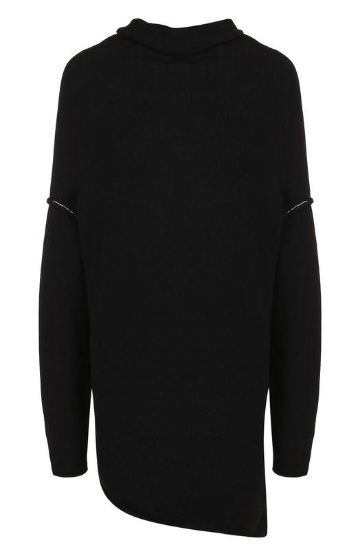 Купить Удлиненный пуловер асимметричного кроя из смеси хлопка и шелка Yohji Yamamoto, YI-K40-037, Япония, Черный, Хлопок: 70%; Полиамид: 20%; Шелк: 10%;