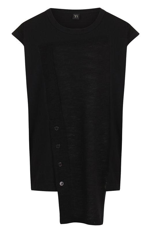 Купить Хлопковая футболка асимметричного кроя Yohji Yamamoto, YI-T22-678, Япония, Черный, Хлопок: 100%;