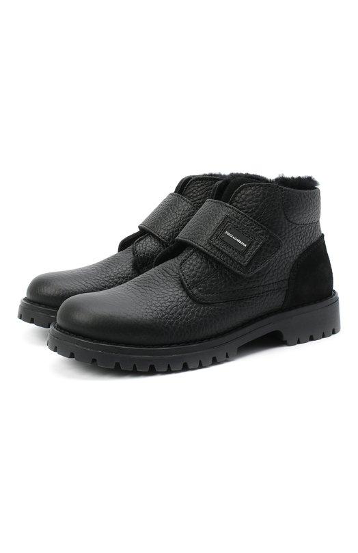 Утепленные кожаные ботинки с застежкой велькро Dolce & Gabbana, DA0221/AU492/29-36, Италия, Черный, Подошва-резина: 100%; Подкладка-мех натуральный: 100%; Кожа: 100%;  - купить
