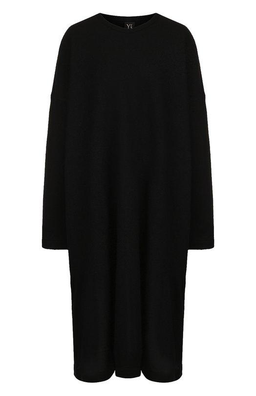 Купить Шерстяное платье свободного кроя Yohji Yamamoto, YI-T06-671, Япония, Черный, Шерсть: 100%;