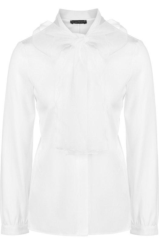 Купить Однотонная шелковая блуза с воротником аскот Emporio Armani, 1NC12T/1M312, Болгария, Белый, Шелк: 94%; Эластан: 6%;