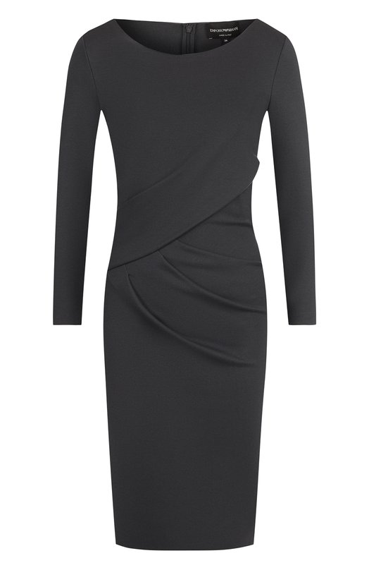 Однотонное мини-платье с драпировкой Emporio Armani, 6Z2A6D/2JFAZ, Италия, Темно-серый, Вискоза: 77%; Эластан: 6%; Полиамид: 17%;  - купить