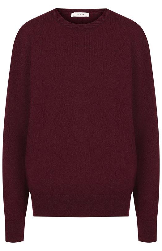 Купить Однотонный кашемировый пуловер с круглым вырезом The Row, 4093F377, Италия, Бордовый, Кашемир: 97%; Полиамид: 3%;