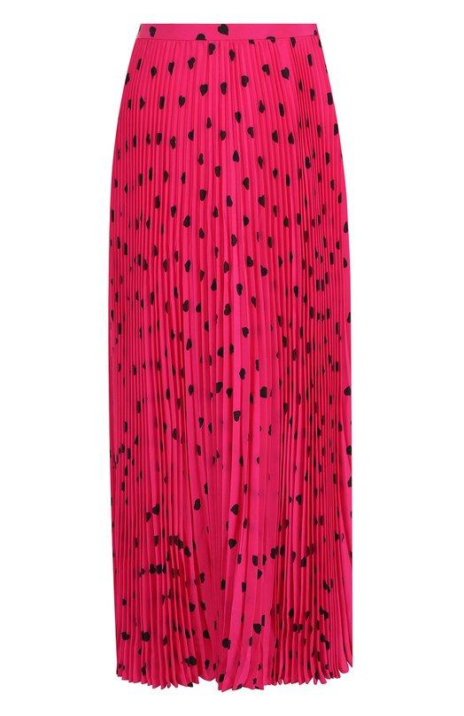 Купить Плиссированная шелковая юбка-миди с принтом Valentino, QB3RA43046Q, Италия, Фуксия, Шелк: 100%;