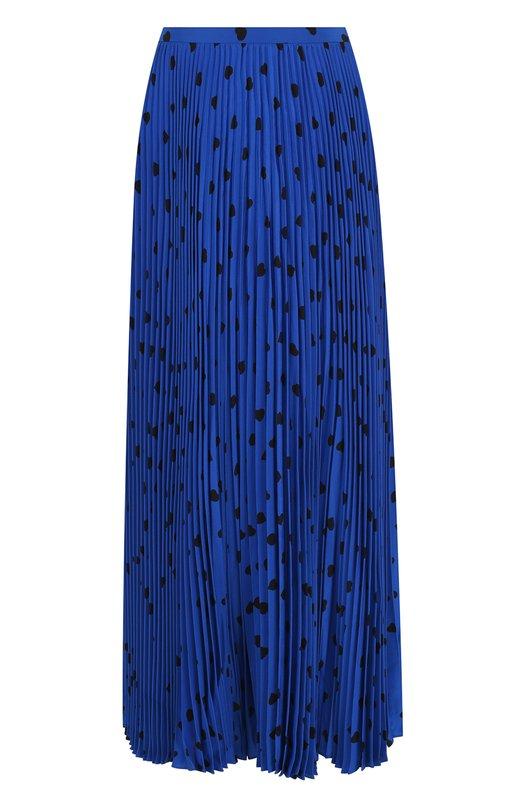 Купить Плиссированная шелковая юбка-миди с принтом Valentino, QB3RA43046Q, Италия, Синий, Шелк: 100%;