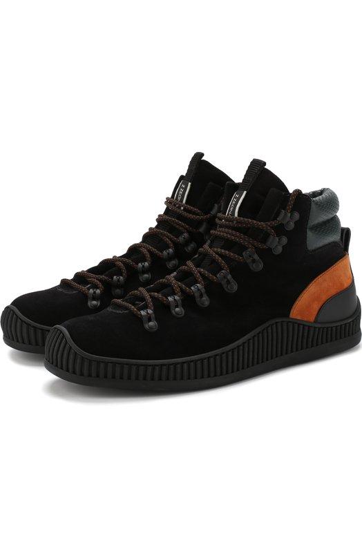 Купить Комбинированные ботинки на шнуровке Z Zegna, A4029X-SGM, Италия, Коричневый, Подкладка-Шерсть: 80%; Подкладка-Кожа: 20%; Подошва-Резина: 100%; Кожа: 100%;