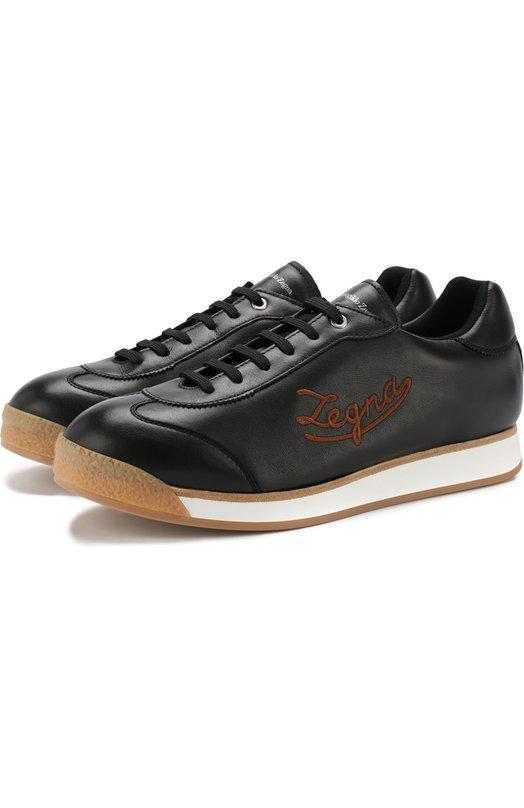 Купить Кожаные кеды на шнуровке Ermenegildo Zegna, A4018X-M0U, Италия, Черный, Подошва-резина: 100%; Подкладка-кожа: 100%; Кожа: 100%;