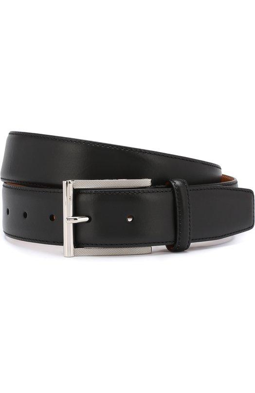 Купить Кожаный ремень с металлической пряжкой Santoni, CM35V0003A48E0BRN01, Италия, Черный, Кожа: 100%;