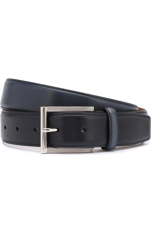 Купить Кожаный ремень с металлической пряжкой Santoni, CM35V0003A48EGTUU44, Италия, Темно-синий, Кожа: 100%;