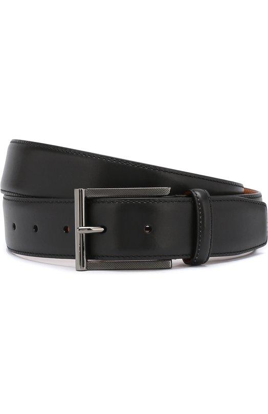 Купить Кожаный ремень с металлической пряжкой Santoni, CM35V0003A48G0BRN01, Италия, Черный, Кожа: 100%;