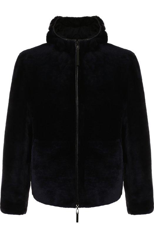 Купить Двусторонняя меховая куртка на молнии с капюшоном Emporio Armani, 11B15P/11P15, Турция, Темно-синий, Подкладка-Полиэстер: 70%; Подкладка-Вискоза: 30%; Мех натуральный: 100%; Отделка Кожа натуральная: 100%;
