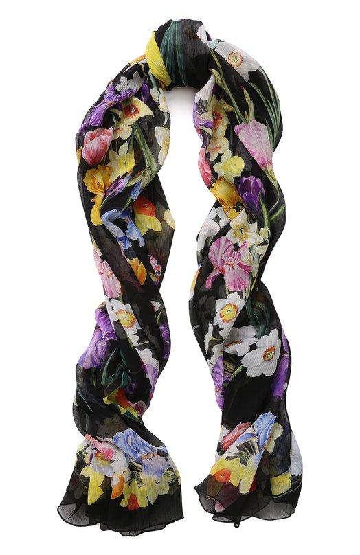 Купить Шелковый шарф с цветочным принтом Dolce & Gabbana, FS182A/GDJ79, Италия, Черный, Шелк: 100%;
