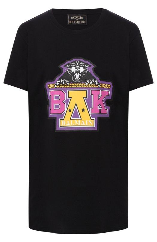 Хлопковая футболка с круглым вырезом Balmain x Beyoncé Balmain, RU1/1100/326I, Португалия, Черный, Хлопок: 100%;  - купить