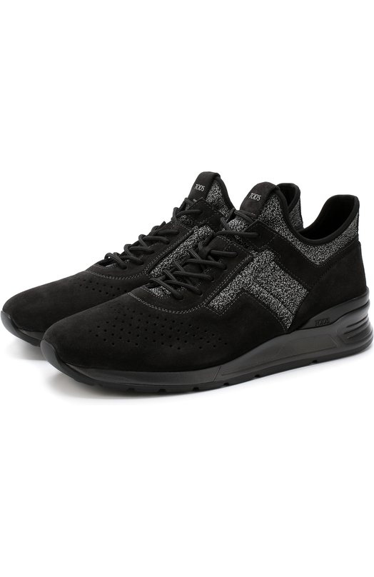 Купить Высокие комбинированные кроссовки на шнуровке Tod's, XXM69A0W920JKL, Италия, Серый, Кожа: 60%; Текстиль: 40%; Подкладка-текстиль: 100%; Подошва-резина: 100%;
