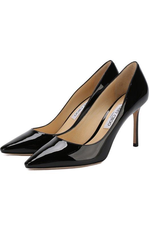 Купить Лаковые туфли Romy 85 на шпильке Jimmy Choo, R0MY 85/PAT, Италия, Черный, Кожа натуральная: 100%; Стелька-кожа: 100%; Подошва-кожа: 100%; Подкладка-кожа: 100%; Кожа: 100%;