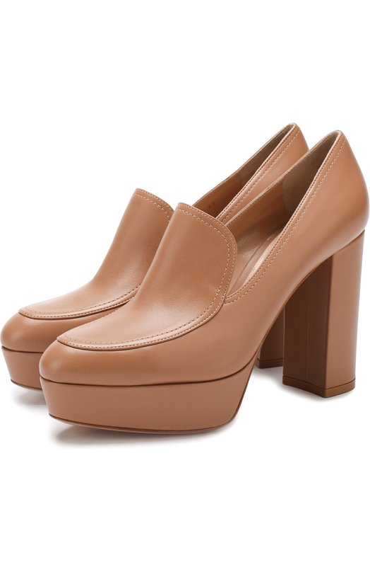 Купить Кожаные туфли на устойчивом каблуке и платформе Gianvito Rossi, G21502.70RIC.NAPPRAL, Италия, Светло-розовый, Подошва-кожа: 100%; Подкладка-кожа: 100%; Кожа: 100%;