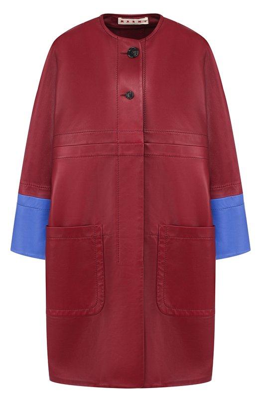 Купить Кожаное пальто с накладными карманами и контрастной отделкой Marni, CPMX0004Q0/LA703, Италия, Бордовый, Кожа: 100%;