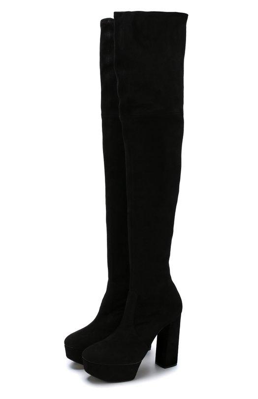 Купить Замшевые ботфорты на устойчивом каблуке и платформе Casadei, 1T938H1201T045000, Италия, Черный, Стелька-кожа: 100%; Подошва-кожа: 100%; Замша натуральная: 100%; Подкладка-кожа: 100%; Кожа: 100%;