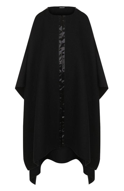 Однотонное пончо из смеси шерсти и шелка Giorgio Armani