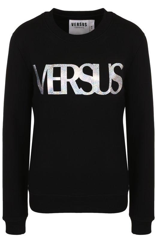 Купить Хлопковый пуловер с круглым вырезом и логотипом бренда Versus Versace, BD90658/BJ10390, Португалия, Черный, Хлопок: 100%;