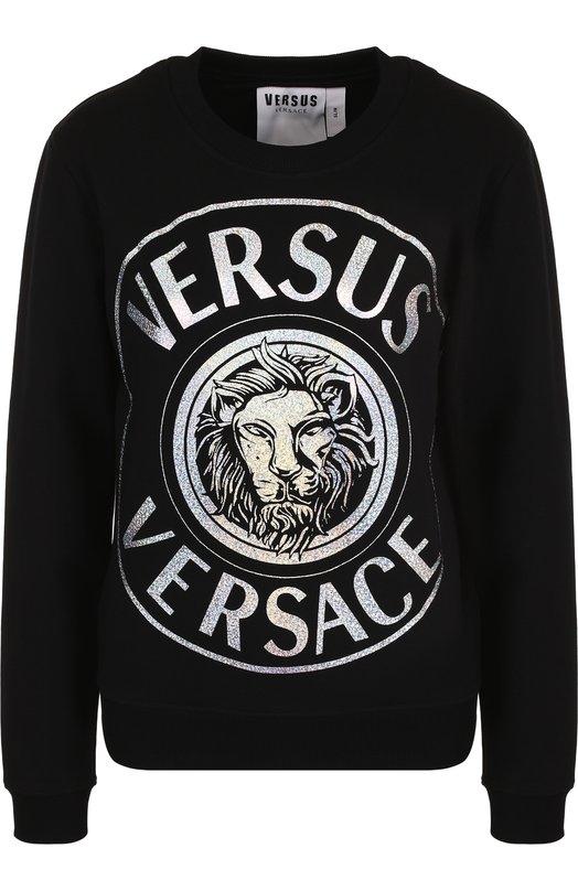 Купить Хлопковый пуловер с круглым вырезом и логотипом бренда Versus Versace, BD90660/BJ10390, Португалия, Черный, Хлопок: 100%;