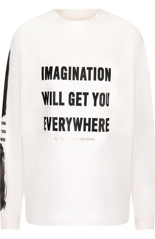 Купить Хлопковый пуловер с круглым вырезом и надписями Golden Goose Deluxe Brand, G33WP091.A1, Италия, Белый, Хлопок: 100%;