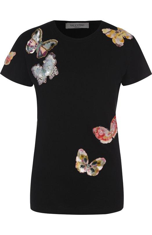 Купить Хлопковая футболка с круглым вырезом и отделкой в виде бабочек Valentino, PB0MG07H/3WT, Италия, Черный, Хлопок: 100%;