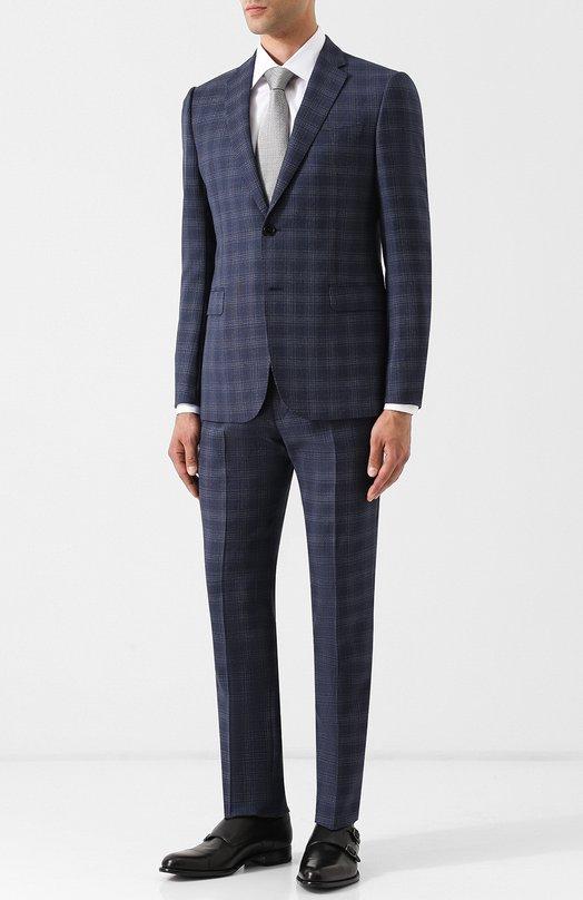 Шерстяной костюм в клетку с однобортным пиджаком Emporio Armani
