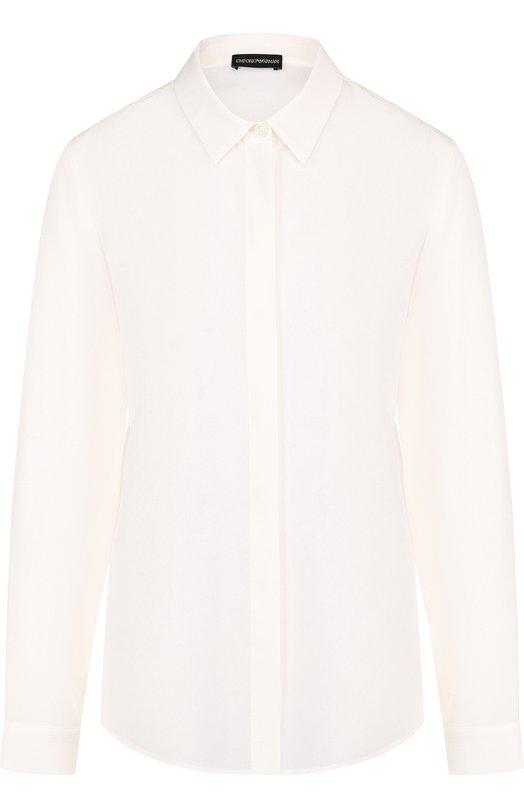 Однотонная шелковая блуза прямого кроя Emporio Armani, 0NC39T/12301, Болгария, Белый, Шелк: 100%;  - купить