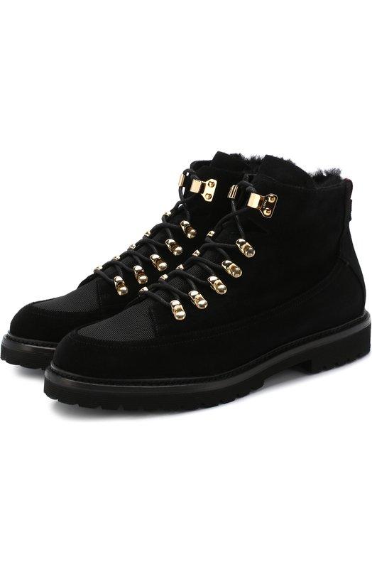 Купить Замшевые ботинки с внутренней меховой отделкой Bally, KAMILA-FUR/100/CALF, Италия, Черный, Кожа: 95%; Текстиль: 5%; Подкладка-мех/овчина/: 100%; Подошва-резина: 100%;