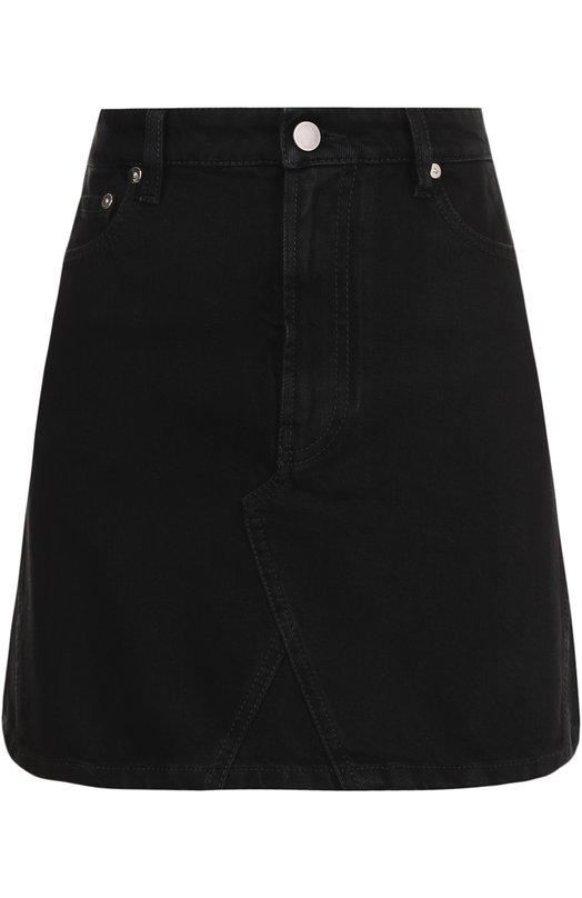 Купить Джинсовая мини-юбка с карманами Valentino, QB3DD07K45J, Италия, Черный, Хлопок: 100%;