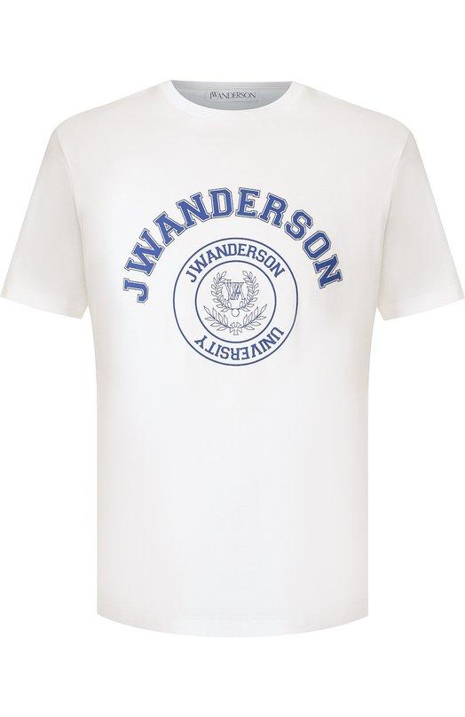 Купить Хлопковая футболка с принтом J.W. Anderson, JE02718F 708/001, Португалия, Белый, Хлопок: 100%;