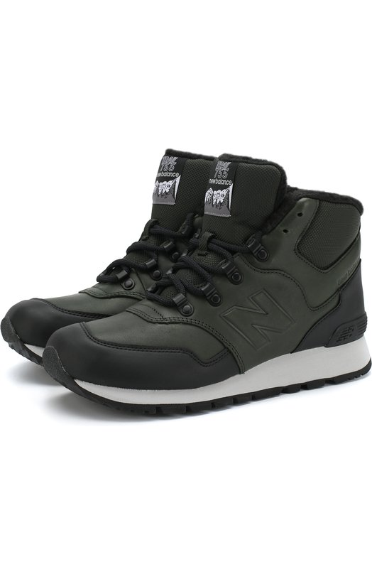 Купить Высокие кожаные утепленные кроссовки 755 New Balance, HL755MLE/D, Китай, Темно-зеленый, Кожа натуральная: 100%; Стелька-текстиль: 100%; Подошва-резина: 100%
