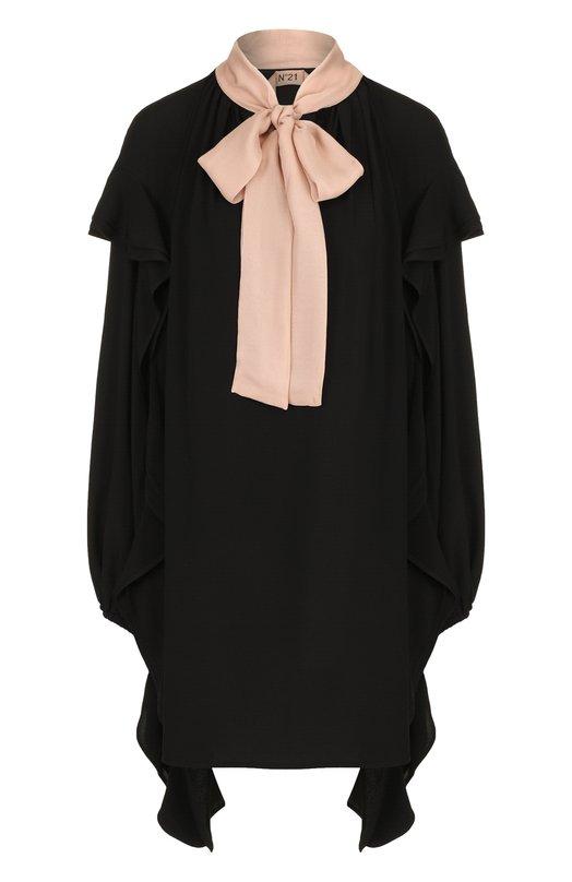 Купить Мини-платье свободного кроя с воротником аскот No. 21, 18I N2M0/H161/5111, Румыния, Черный, Ацетат: 62%; Шелк: 38%;