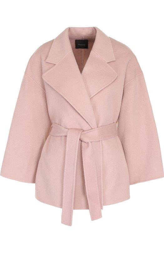 Купить Однотонное пальто из смеси шерсти и кашемира с поясом Theory, I0601403, Китай, Розовый, Шерсть: 90%; Кашемир: 10%;